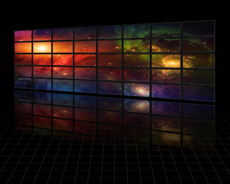 galaxies: Galaxies and stars on screens in dark space abstract background Stock Photo