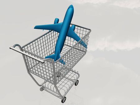 airbus: Jet Aircraft in Shopping Cart abstract background