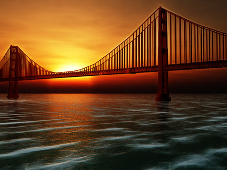 Golden Gate Bridge Painterly Illustration abstract background Stock Photo