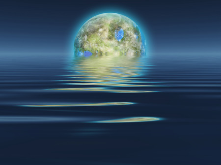 rises: Terraformed Luna rises over water abstract background