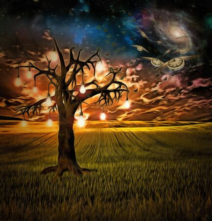 mystical: Bulb tree of ideas with surreal space background Stock Photo