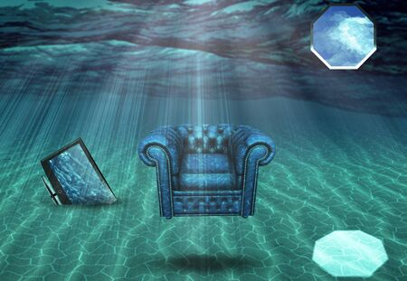 submerged: Submerged Living Room abstract background Stock Photo