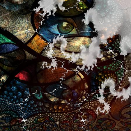 ojo humano: Imagen abstracta con texto y fondo abstracto ojo humano Foto de archivo