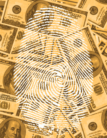finger proof: finger Print and USA Currency