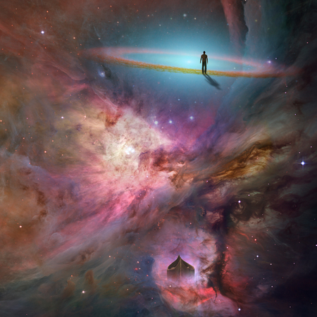 human being: Space background with human being