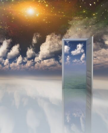 realm: Doorway in serene space opens into other realm abstract background