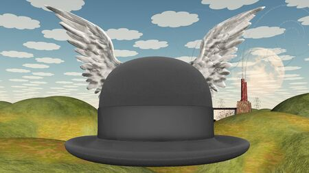 english countryside: Winged Hat in surreal landscape abstract background Stock Photo