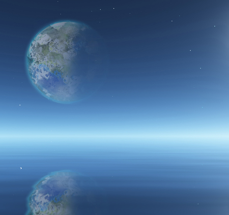 biosphere: Terraformed Moon over water surface abstract background Stock Photo