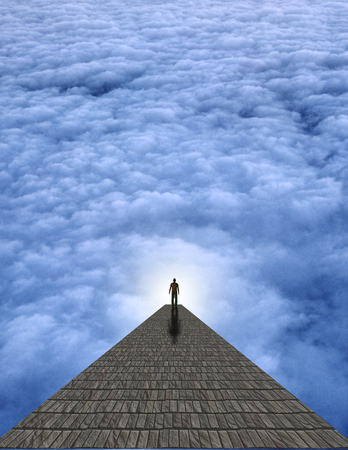 atop: Man atop stone in clouds abstract background