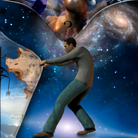 show time: Man stretches space time to show power beneath abstract background