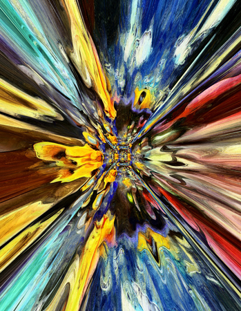 tunnel vision: colorful psychedelic blast tunnel abstract background Stock Photo