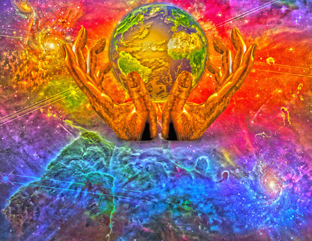 heaven on earth: Earth in gods hands abstract background