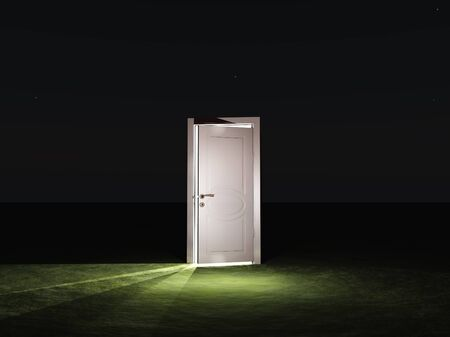 closed door: Partly closed door emits light