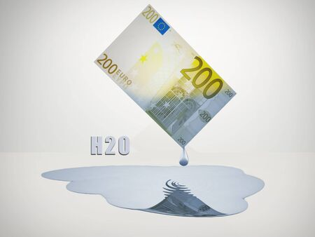 corporate waste: 200 Euro bill drips freshwater