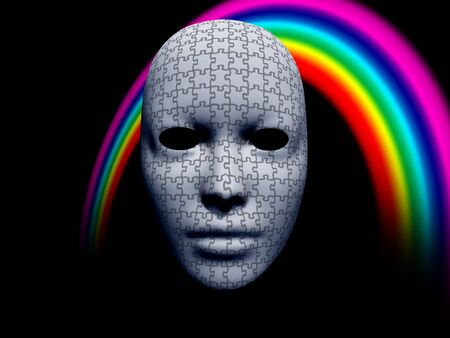 facemask: puzzle facemask with rainbow on black