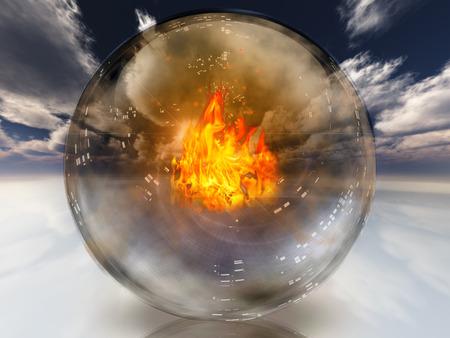 adivino: Fuego en adivinos fondo esfera abstracta Foto de archivo
