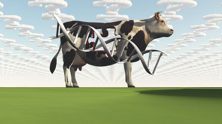 transgenic: Cow and questions clouds abstract background
