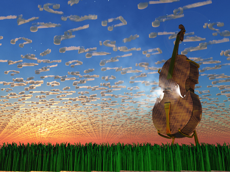 stradivarius: Cello emits light with clouds formed as musical notaions