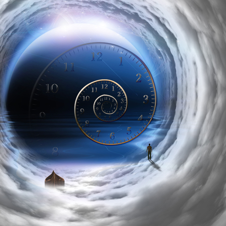 Man with boat in time tunnel abstract background