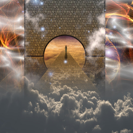 Man on spiritual journey abstract background