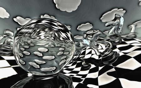 abstract illustration of chess figures at play