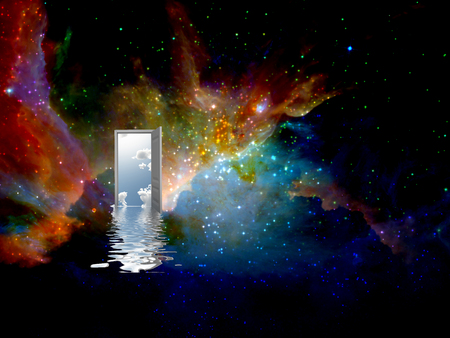 another: open door to another world abstract background Stock Photo