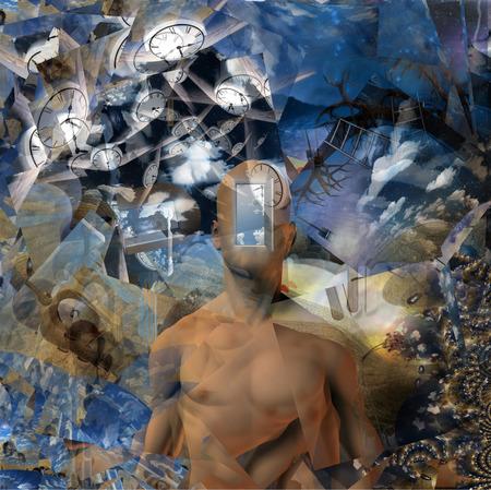 fractals: Man with a clocks and fractals