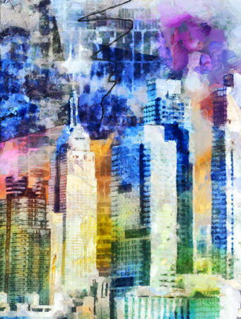 New York City Colorful Abstract Painting Banco de Imagens