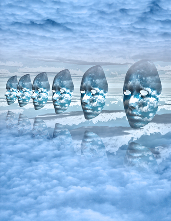 Faces float amongst clouds