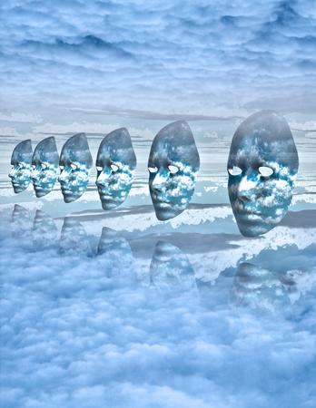amongst: Faces float amongst clouds