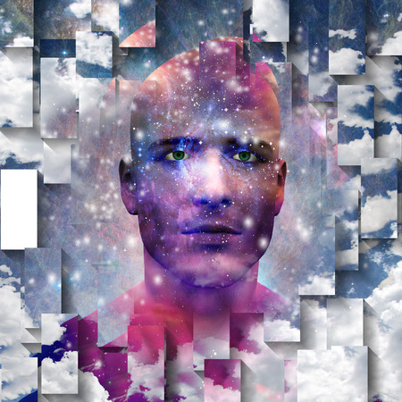 Mans hoofd met sterren en wolken