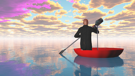 upturned: man rowing oars in the red upturned umbrella on water Stock Photo