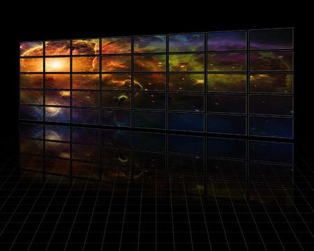 galaxies: Galaxies and stars on screens in dark space