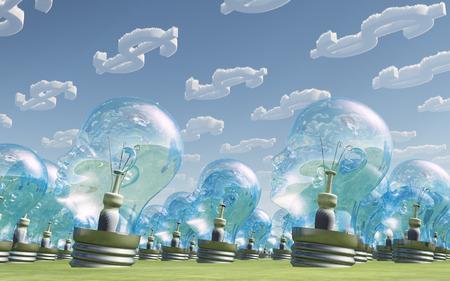 dollar symbol: Light Bulb heads and dollar symbol clouds Stock Photo