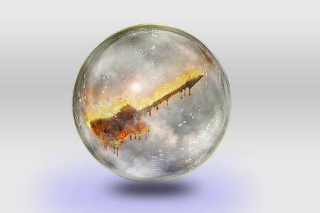 sphere: Flaming Guitar inside crystal sphere