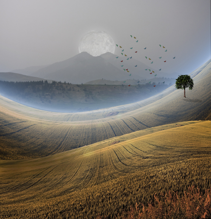 stock agency: Peaceful Landscape with Mountain