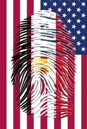 identidad cultural: Egipto de huellas digitales y la bandera de EE.UU.