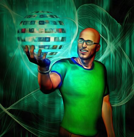 concept magical universe: Man holding sphere of videos