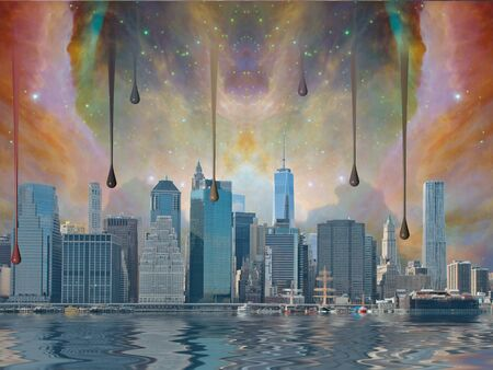 clouding: Fantasy New York City world trade center freedom tower,