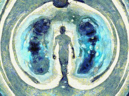 personal god: Figure in Doorway Stock Photo