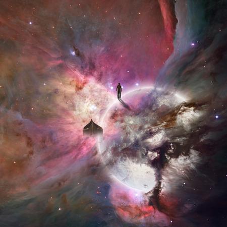 ser humano: Fondo del espacio profundo con el ser humano Foto de archivo