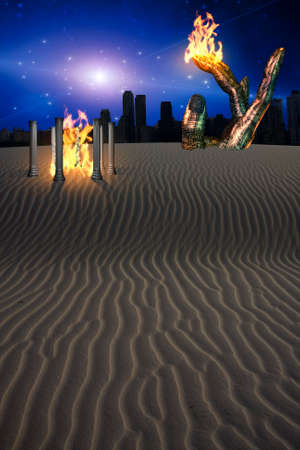 conceptual: Fantasy Landscape with City in Distance