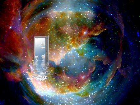 open deur naar een andere wereld Stockfoto