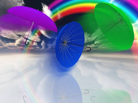 windstorm: Umbrellas with rainbow