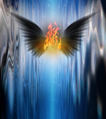 cursed: Black winged being of fire Stock Photo