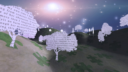 evening newspaper: Paper trees with text in mystical landscape from My own writings