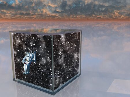 captured: Astronaut and space captured in clear box in surreal scene