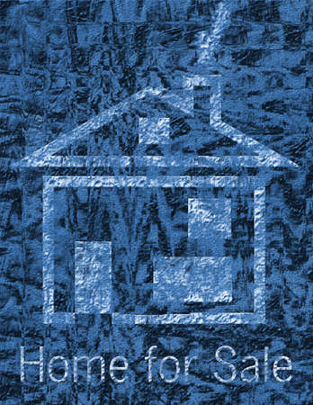 landlord: Home for sale on black and blue textured background Stock Photo