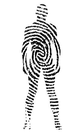 fingermark: Fingerprint in the shape of man silhouette Stock Photo