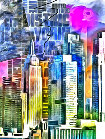 New York City Colorful Abstract Painting Фото со стока - 58750547